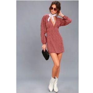 Arrowhead Rusty Rose Print Long Sleeve Dress